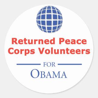 RPCVS para los pegatinas de Obama Pegatina Redonda