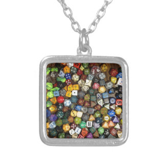 RPG game dice Silver Plated Necklace