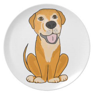 RR- Cute Funny Rescue Dog Puppy Cartoon Plate