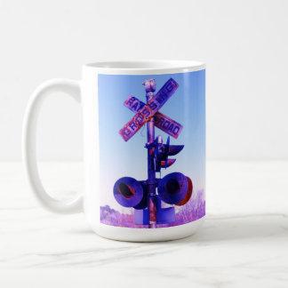 RR Train crossing in purple Classic White Coffee Mug