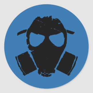 rrc - gas mask blue classic round sticker