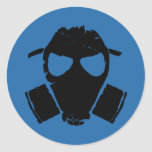 rrc - gas mask blue round stickers