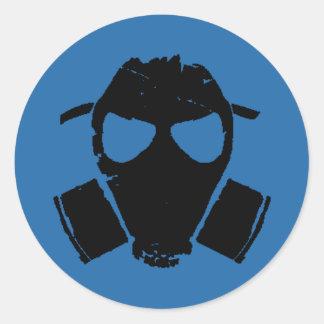 rrc - gas mask blue classic round sticker