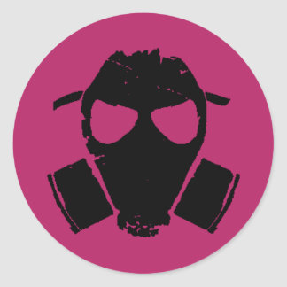 rrc - gas mask pink classic round sticker