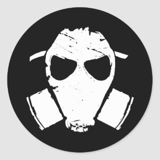rrc - gas mask white classic round sticker