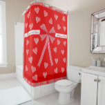 Rred striped border and a red center with hearts shower curtain