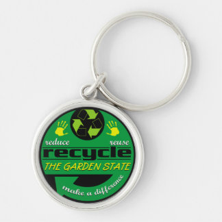RRR The Garden State Silver-Colored Round Keychain