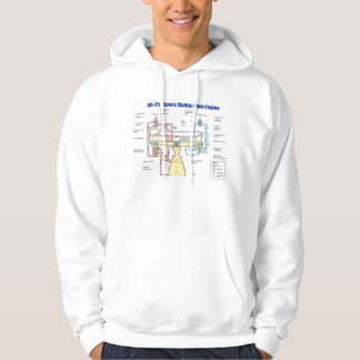 RS-25 Space Shuttle Main Engine Diagram Hoodie