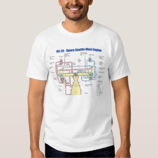 RS-25 Space Shuttle Main Engine Diagram Tshirts