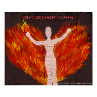 RSD/CRPS Angel with Fire Wings Poster