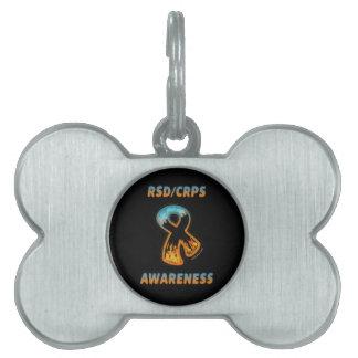 RSD/CRPS AWARENESS fire & ice ribbon Pet ID Tag