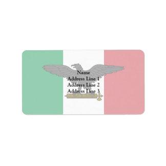 Rsi, bandera de Italia Etiqueta De Dirección