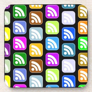 RSS Button Icon Pattern Design Beverage Coaster