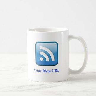 RSS cyan icon, with Your Blog URL Coffee Mug