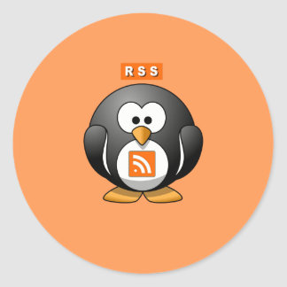 RSS Penguin Orang Background Round Stickers