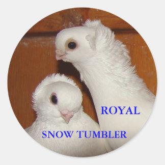 RST PAIR HEADS, ROYAL, SNOW TUMBLER CLASSIC ROUND STICKER