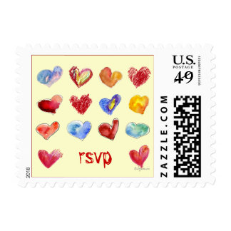 RSVP 17 Valentine Hearts Small Postage Stamps