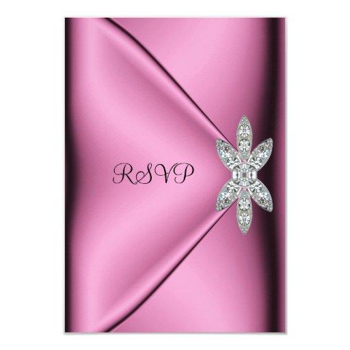 RSVP 21st Birthday Party Pink Silk Diamond Jewel Personalized Invitations