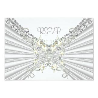 RSVP 25th Anniversary White Silver Pearl Jewel 2 Custom Invitation