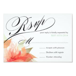 """RSVP 2 de lujo florales anaranjados amelocotonados Invitación 3.5"""" X 5"""""""