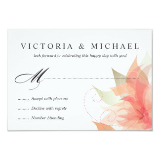 "RSVP 2-Sided Peachy Orange Floral 3.5"" X 5"" Invitation Card"