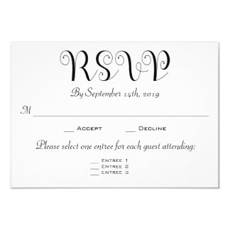RSVP 3 Entree Choices Reception Card Invitation