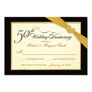 RSVP - 50th Golden Anniversary Black & Gold Card
