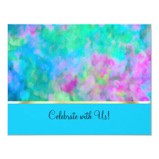 RSVP Abstract Design in Turquoise Blue Purple Aqua Card
