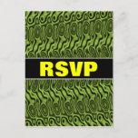 "[ Thumbnail: ""RSVP""; Abstract Green Liquid-Like Splotch Pattern Postcard ]"