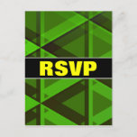 """[ Thumbnail: """"RSVP"""" + Abstract Green Triangles Pattern Postcard ]"""