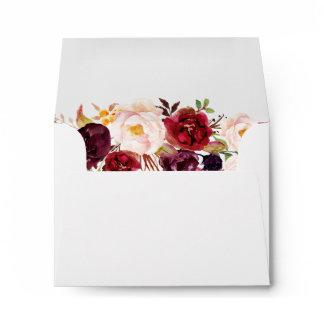 RSVP Address - Burgundy Marsala Chic Red Floral Envelope