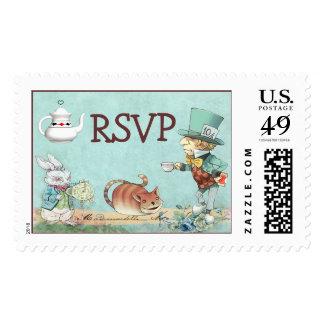 RSVP Alice in Wonderland Mad Hatter's Tea Party Stamp