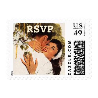 RSVP, amor y romance, abrazo cariñoso del vintage Sellos