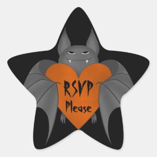 Rsvp amoroso divertido del palo de vampiro de Hall Pegatina Forma De Estrella Personalizada