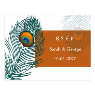 rsvp anaranjado del boda del pavo real tarjeta postal