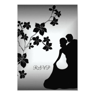 RSVP Anniversary Asian Black Silver Floral Couple Card