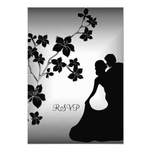 RSVP Anniversary Asian Black Silver Floral Couple Invite