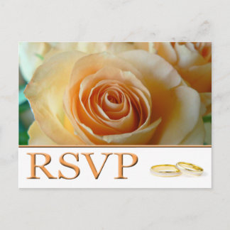 RSVP - APRICOT ROSE AND RINGS INVITATION POSTCARD