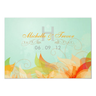 "RSVP - Aqua Abstract Wedding Invitations 3.5"" X 5"" Invitation Card"