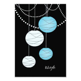 RSVP Aqua Blue Paper Lanterns Wedding Cards