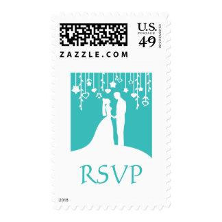 RSVP - aqua bride & groom silhouettes Postage Stamp