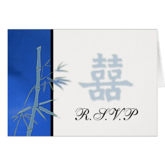 RSVP - Asian Blue Double Happiness Wedding RSVP Card