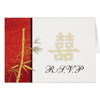 RSVP - Asian Red Double Happiness Wedding RSVP Stationery Note Card