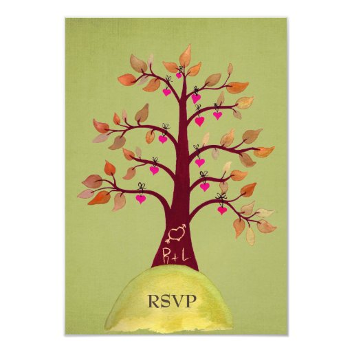 RSVP Autumn/Fall Heart Tree Carving Green Cards