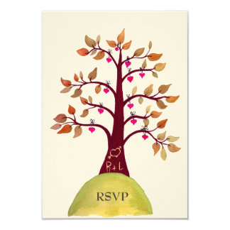 "RSVP Autumn/Fall Heart Tree Carving Wedding Cards 3.5"" X 5"" Invitation Card"