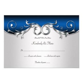 RSVP azul 3.5x5 y de plata elegante Anuncio Personalizado