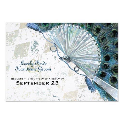 """Rsvp azul de la fan del pavo real del vintage invitación 3.5"""" x 5"""""""
