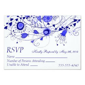RSVP - azul marino caprichoso que casa 1 Invitación 8,9 X 12,7 Cm