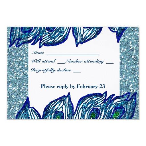 """Rsvp azul reluciente del pavo real de la invitación 3.5"""" x 5"""""""