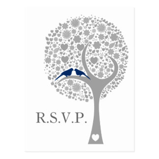 rsvp banal del boda de la MOD de los lovebirds de Tarjetas Postales